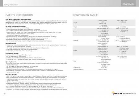 GISON Biztonsági utasítás, konverziós táblázat
