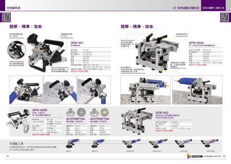 台湾吉生 空気圧石面取り機、空気圧石90度直角エッジ研削盤