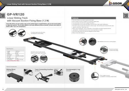 Лінейная слізгальная дарожка GP-VR120 з базай для фіксацыі вакуумнага ўсмоктвання