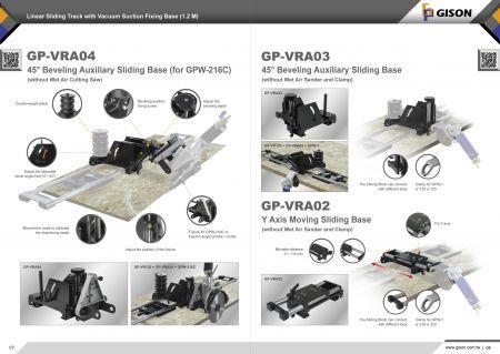 GP-VRA03 / 04 Úkosová pomocná posuvná základna, GP-VRA02 Pohyblivá posuvná základna v ose Y