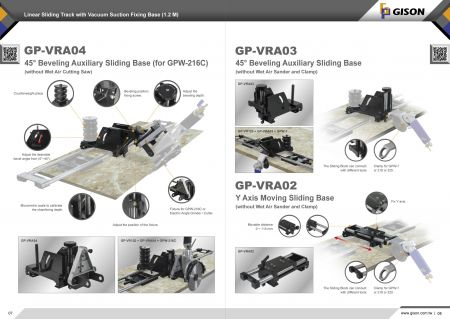 Rail coulissant linéaire GP-VR120 avec base de fixation par aspiration sous vide