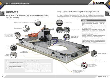 GPW-M2 습식 공압 석재 드릴링/커팅/프로파일링 머신