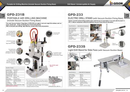 GPD-231B 휴대용 공압 드릴링 머신, GPD-233/233S 드릴링 프레임