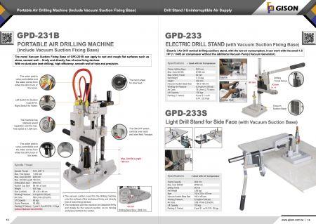 GPD-231Bポータブル空気圧ボール盤、GPD-233 / 233Sボール盤
