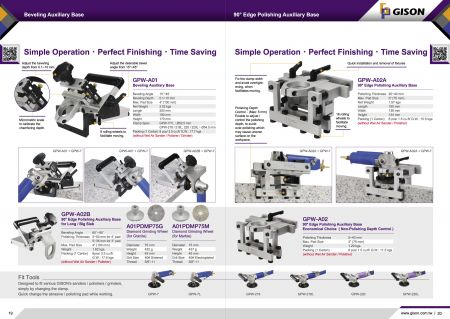 GPW-A01 ฐานเสริม Beveling, GPW-A02A ฐานเสริมการขัดขอบ 90 องศา