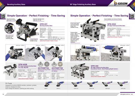 GPW-A01 Beveling Auxiliary Base, GPW-A02A 90 degree Edge Polishing Auxiliary Base