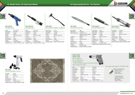 台湾吉生 小型雕刻用风动凿锤, 风动雕刻笔, 风动锤, 风铲