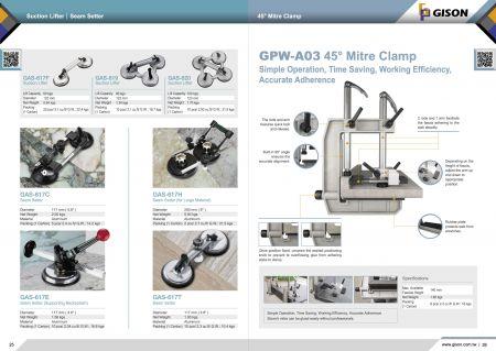 GISON Ανυψωτικό αναρρόφησης, Ρυθμιστής ραφής, GPW-A03 Miter Clamp