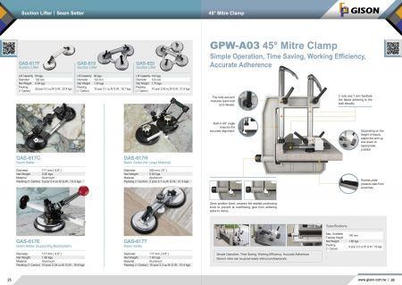 Suction Lifter, Seam Setter, GPW-A03 Mitre Clamp