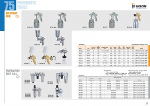 p75 76 Pistolet à air comprimé Unité de préparation Filtre Régulateur Lubrificateur