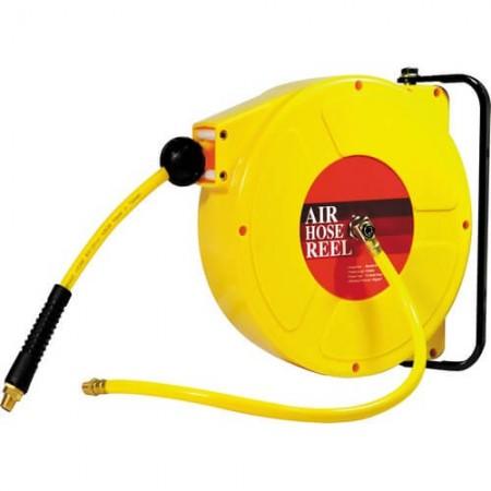 Gulungan Selang Udara Auto-Rewinder Dipasang di Dinding (6.5mm x 10mm x 8M)