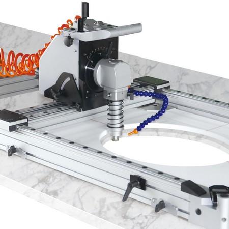 桌上型风动石材靠模仿形开槽机