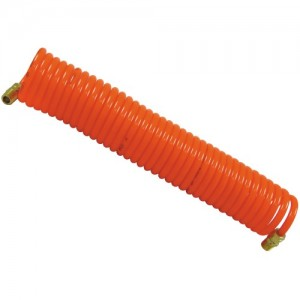 Flexible PU Recoil Air Hose Tube (5mm(I.D.) x 8mm(O.D.) x 15M) with 2 pcs Male Copper Couplers