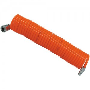 Flexible PU Recoil Air Hose Tube (8mm(I.D.) x 12mm(O.D.) x 12M) with 1 pc Iron Plug and 1 pc Iron Socket (Nitto Type)