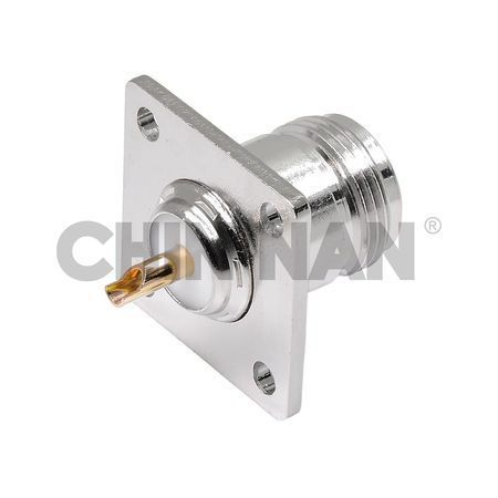 N Straight Square Flange Jack Receptacle(Solder Pot Contact)