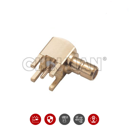 SMB Connectors - SMB Right Angle PCB Mount Jack Receptacle With Standoff Pads
