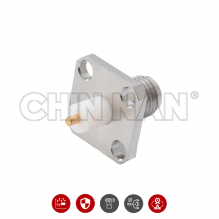 N Connector - N Straight Square Flange Jack Receptacle - n straight square flange jack receptacle is a n jack connector for pc board application.