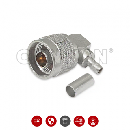 N Connectors - N Right Angle Plug Crimp For RG 58 or LMR195 Cable - N Right Angle Plug Crimp For RG 58 or LMR195 Cable