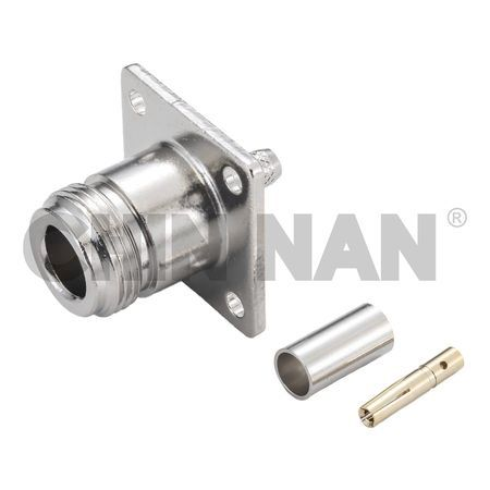 N Straight Square Flange Jack Crimp for RG 58 or 141A/U cable - n straight square flange jack crimp for rg 58 or 141a/u cable