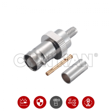 BNC Connectors - BNC Straight Jack Crimp for RG 58 or LMR195 cable - BNC Straight Jack Crimp for RG 58 or LMR195 cable