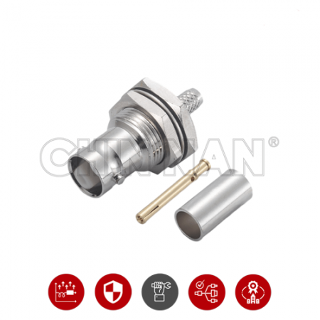 BNC Connectors - BNC Straight Bulkhead Jack Crimp for RG 58 or LMR195 cable - BNC Straight Bulkhead Jack Crimp for RG 58 or LMR195 cable