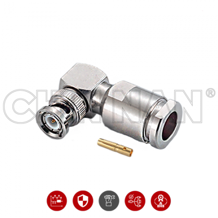 BNC Connectors - BNC Right Angle Plug Clamp For RG 213U、RG 214U、RG 393U Cable - bnc right angle plug clamp for rg 213u、rg 214u、rg 393u cable