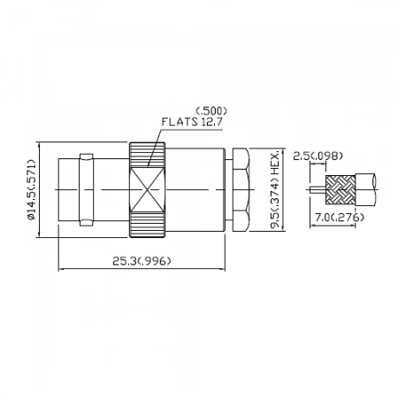 BNC Straight Jack Clamp for RG 142B or RG 223 or RG 400 Cable - This is a BNC jack connector for  RG142B or RG223 or RG400 cable application.