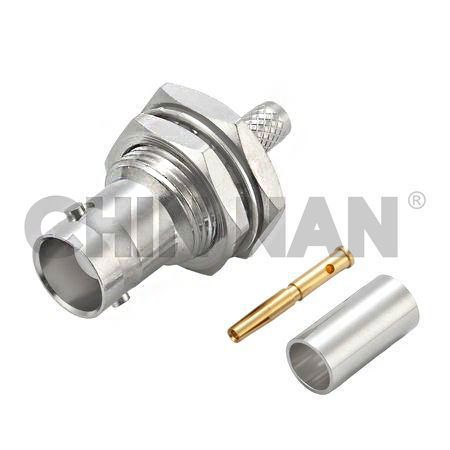 BNC Connectors - BNC Straight Bulkhead Jack Crimp for RG 58 or 141A/U cable - bnc straight jack connector for rg 58 or 141a/u cable application.