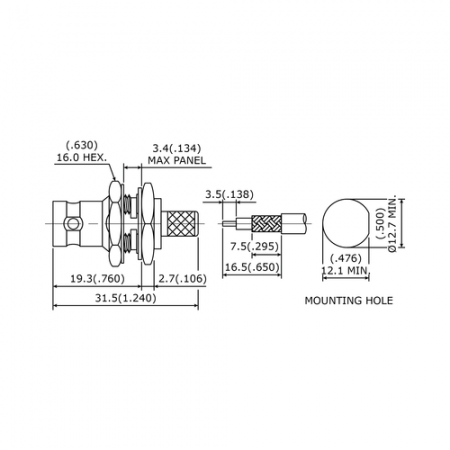 BNC Straight Bulkhead Jack Crimp for RG 58 or 141A/U cable - This is a BNC straight jack connector for  RG 58 or 141A/U  cable application.