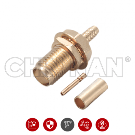 SMA Straight Bulkhead Jack Crimp for RG 174 or RG 316 or RG188 or LMR100 cable - SMA Straight Bulkhead Jack Crimp is a SMA jack connector for cable application.