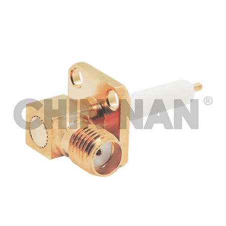 SMA Right Angle Square Flange Jack Receptacle(Exposed Teflon) - SMA Right Angle Square Flange Jack Receptacle (Exposed Teflon)