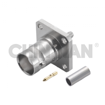 BNC Straight Square Flange Jack Crimp for RG 174 or RG 316 or RG188 or LMR100A cable