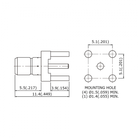 SMB Straight PCB Mount Jack Receptacle with Standoff Pads - This is a  Jack receptacle for SMB straight PCB mount.