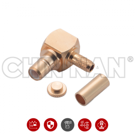 SMB Right Angle Plug Crimp for  RG 174 or RG 316 or RG188 or LMR100 cable - SMB Right Angle Plug Crimp is a SMB  right angle jack connector for cable application