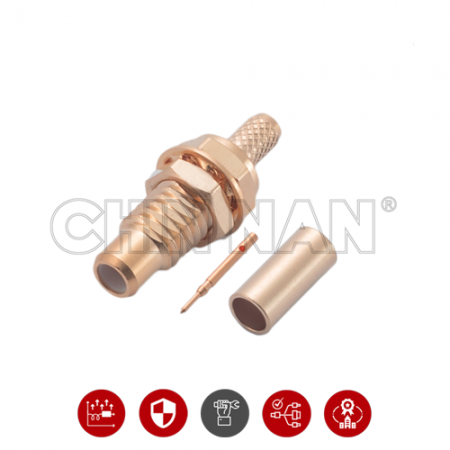 SMC Connectors - SMC Straight Bulkhead Jack Crimp for RG 174 or RG 316 or RG188 or LMR100 cable