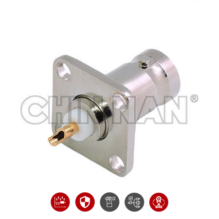 BNC STRAIGHT SQUARE FLANGE JACK RECEPTACLE - BNC STRAIGHT SQUARE FLANGE JACK RECEPTACLE