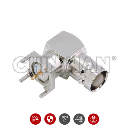 BNC Right Angle PCB Mount Jack Receptacle with Standoff Pads - BNC Right Angle PCB Mount Jack Receptacle with Standoff Pads