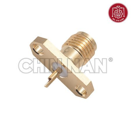 SMA Straight 2 Hole Flange Jack Receptacle(Solder Pot Contact)