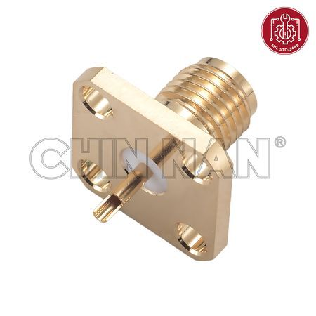 SMA Connectors - SMA Straight Square Flange Jack Receptacle(Solder Pot Contact) - SMA Straight Square Flange Jack Receptacle(Solder Pot Contact)