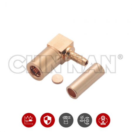 SSMB Connectors - SSMB Right Angle Plug Crimp for RG 178U cable