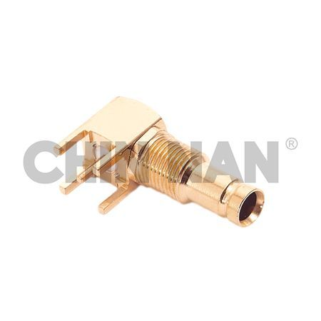 1.0/2.3 Right Angle PCB Mount Jack Receptacle with Standoff Pads - 1.0/2.3 Right Angle PCB Mount Jack Receptacle with Standoff Pads