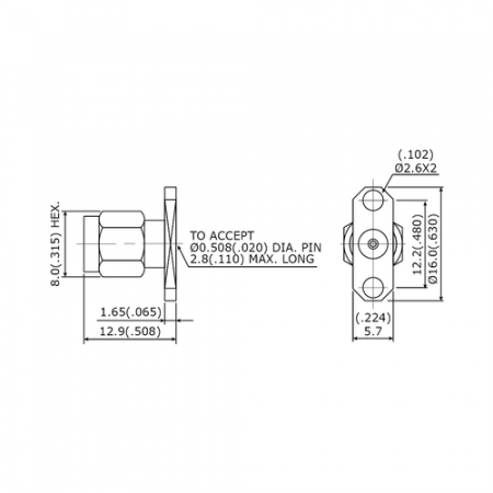 "SMA 27G Connectors - SMA 27G 2 Hole Flange Mount Plug Field Replaceable (To Accept .020"" pin) - sma 27g 2 hole flange mount plug field replaceable (to accept .020"" pin)"