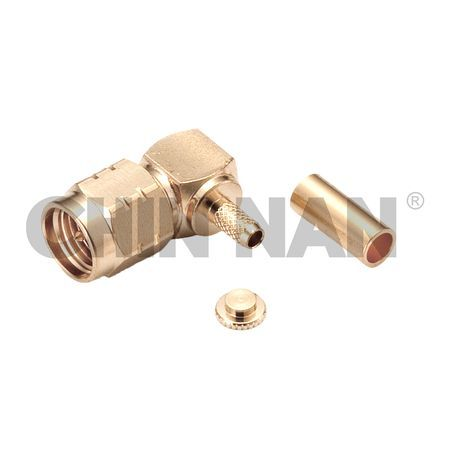 Non-magnetic Connectors - Non-Magnetic SMA Right-Angle Plug Crimp for RG 174 or RG 316 or RG188 cable - non-magnetic sma right-angle plug crimp for rg 174 or rg 316 or rg188 cable