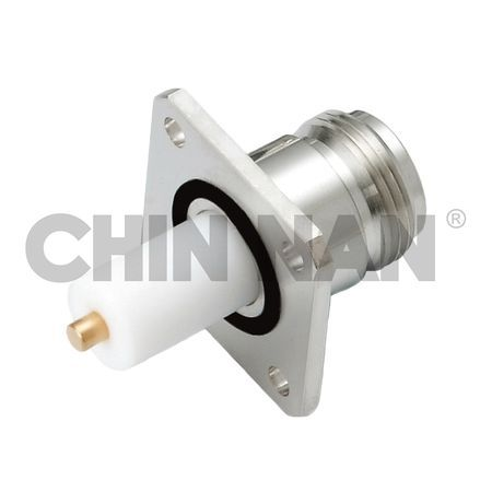 LOW PIM Connector N Straight Square Flange Jack Receptacle (Exposed Teflon) - LOW PIM Connector N Straight Square Flange Jack Receptacle (Exposed Teflon)