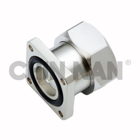 LOW PIM Connector 7/16 Straight Square Flange Mount Field Through Plug Receptacle - LOW PIM Connector 7/16 Straight Square Flange Mount Field Through Plug Receptacle