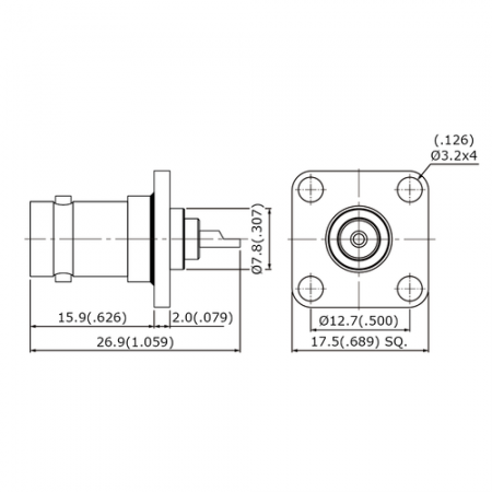 BNC STRAIGHT SQUARE FLANGE JACK RECEPTACLE Supply. Cables