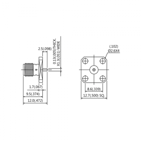 SMA Straight Square Flange Jack Receptacle(Tab Contact