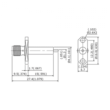 Over 50 Years Industrial SMA 27G 2 Hole Flange Mount Jack