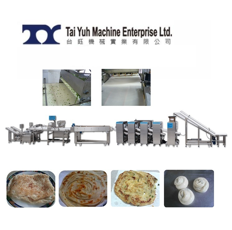 Chinese Flaky Scallion Pancake Production Line - Lacha paratha & Chinese Spring Onion Pie Production Line + Filming & Pressing Machine