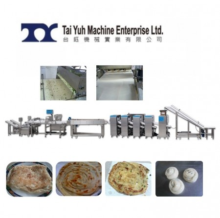चीनी परतदार स्कैलियन पैनकेक उत्पादन लाइन - लच्छा पराठा और चीनी वसंत प्याज पाई उत्पादन लाइन + फिल्माने और दबाने की मशीन